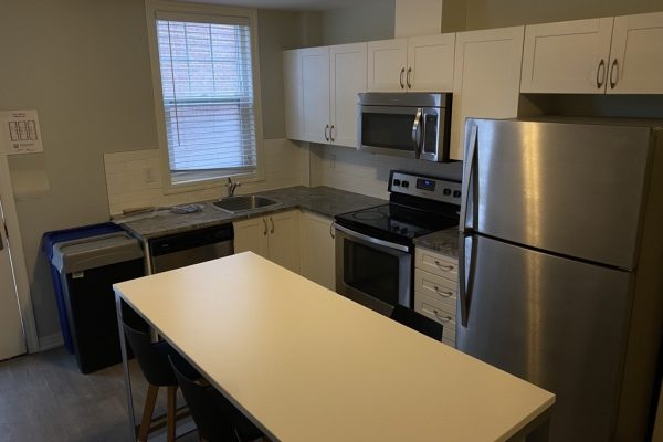 Kitchen with fridge, microwave, oven and dishwasher